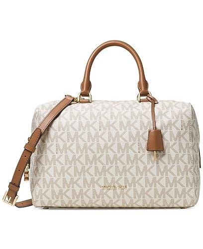181a0a00750c ... clearance michael michael kors womens kirby leather pebbled satchel  handbag beige large 9a108 53cfc