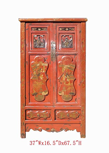 Gold Flower Painting Carving Armoire Red Chinese Antique Cabinet Awk2343 - Amazon.com: Gold Flower Painting Carving Armoire Red Chinese Antique