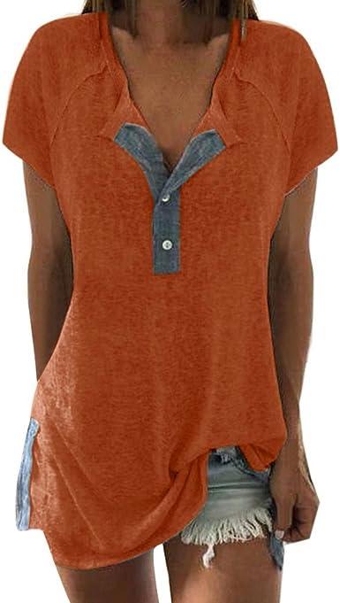 BBestseller Color sólido Cuello en v Camisetas Mujer Manga Corta botón Verano Blusa Mujer Deporte Camisa Mujer Talla Grande Tops
