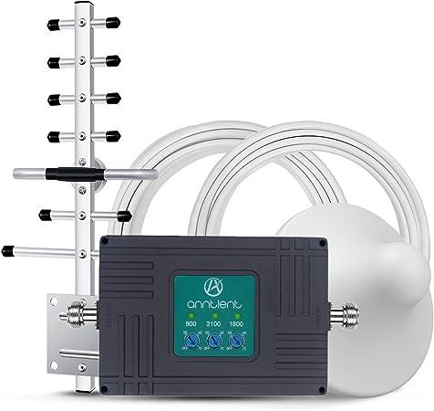 ANNTLENT Repetidor Móvil Cobertura Amplificador de Señal de Teléfono Celular Tri-Band 900/1800/2100MHz 2G 3G 4G Mejorar la Red y Llamar para ...