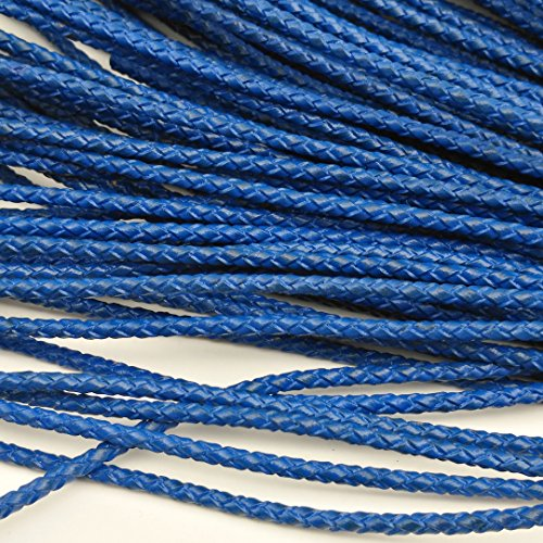5 Yards 3mm Genuine Leather Bolo Cord, Woven Braided Leather Strap for Bracelet Necklace Cord (royal blue) - Blue Leather Cord