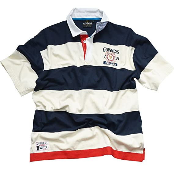 273a52c55ae0 Navy White Guinness Stripped 1759 Short Sleeve Rugby Shirt (S-XXL)   Amazon.co.uk  Clothing