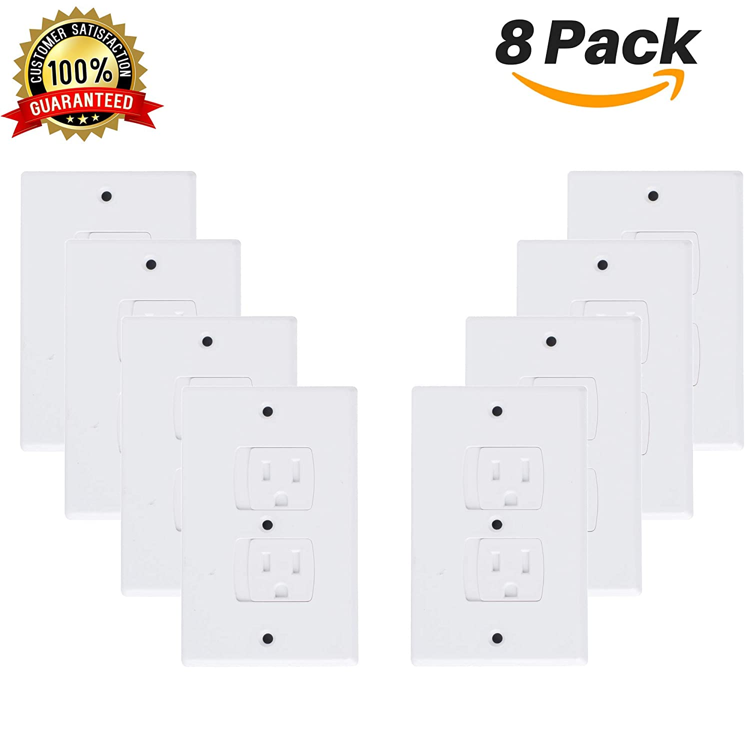 Baby Wall Plates Self Closing Outlet Covers (8 Pack) Outlet Safety Plates Safety Outlet Shield Child Safety Outlet Covers Baby Wall Outlet Safety Wall Outlet Safety Outlets Covers Baby Outlet Protect Standard