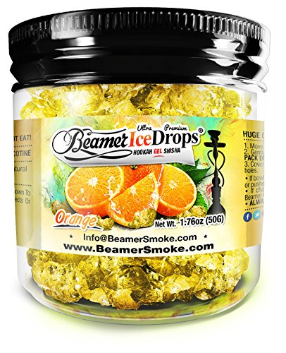 Ultra Premium Orange Hookah Ice Drops™ Smoking GEL 50 gram Jar. Huge Clouds, Amazing Taste!® 100 % Tobacco and Nicotine free! Better taste better clouds than tobacco!™ Made in USA by The Beamer® Hookah Company