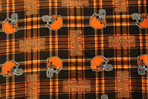 Cleveland Browns Football Plaid Anti-Pill Polar Fleece - Plush Fabric Polyester 13 Oz - Fabric Cleveland Browns Fleece