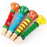 Hosaire 1Piece Sifflet Trompette en bois Instruments de Musique Jouets pour Enfants-Couleur aléatoire