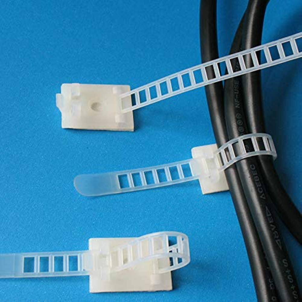 Adhesive Cable Ties 30pcs Cable Clips Adjustable Self-Adhesive Nylon Cable Zip Ties With Base Holder for Wire Management