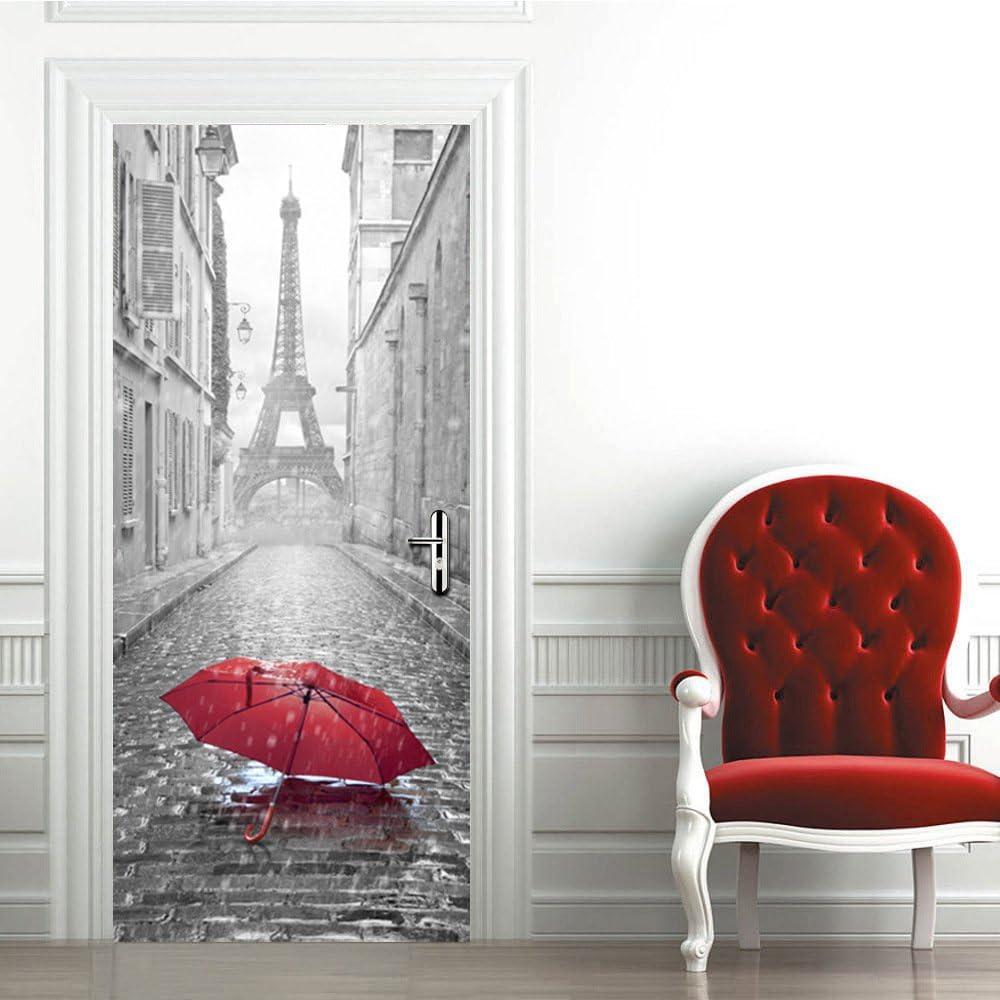 204 x 83 cm Multicolore Ambiance-Live J4-YSJL18Paris-stree Adesivo Porta