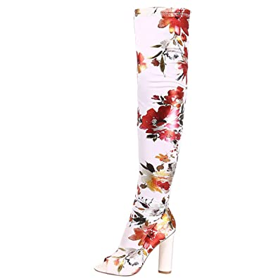 CAPE ROBBIN Womens Peep Toe Floral Print Chunky High Heel Stretch Over The  Knee Thigh High 45ff04a3c