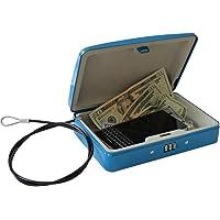 Ignífugo contraseña cajas fuertes portátil caja de cerradura de combinación seguro para el hogar niños coche–Anticorrosion acero, Azul
