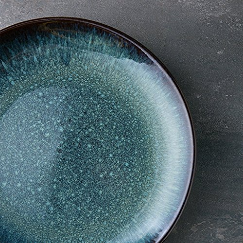 He Xiang Ya Shop Cutlery tray Pasta dish Fruit salad plate Round blue ceramic plate Household flat plate Breakfast plate Steak plate 26.5 cm (10 inches) by He Xiang Ya Shop (Image #4)'