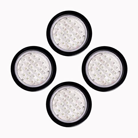 4pcs 24 Led 4 Round Clear Lens White Tail Lights Back Up Reverse Lamps Kit For Truck Trailer Rv