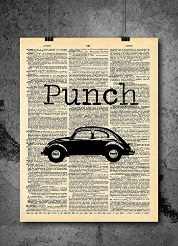 Classic Car Art - Punch Bug VW Beetle - Vintage Dictionary Print 8x10 Home Vintage Art Prints Stoicism Wall Art for Home Decor Wall Decorations Local Art