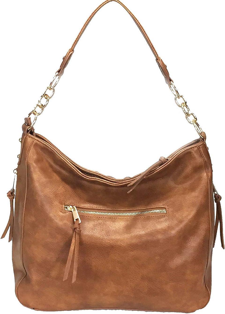 Women Leather Shoulder Bag Soft Double Zipper Inclined Fashionable Handbags Gift