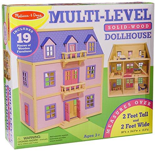 Melissa amp Doug MultiLevel Wooden Dollhouse With 19 pcs Furniture
