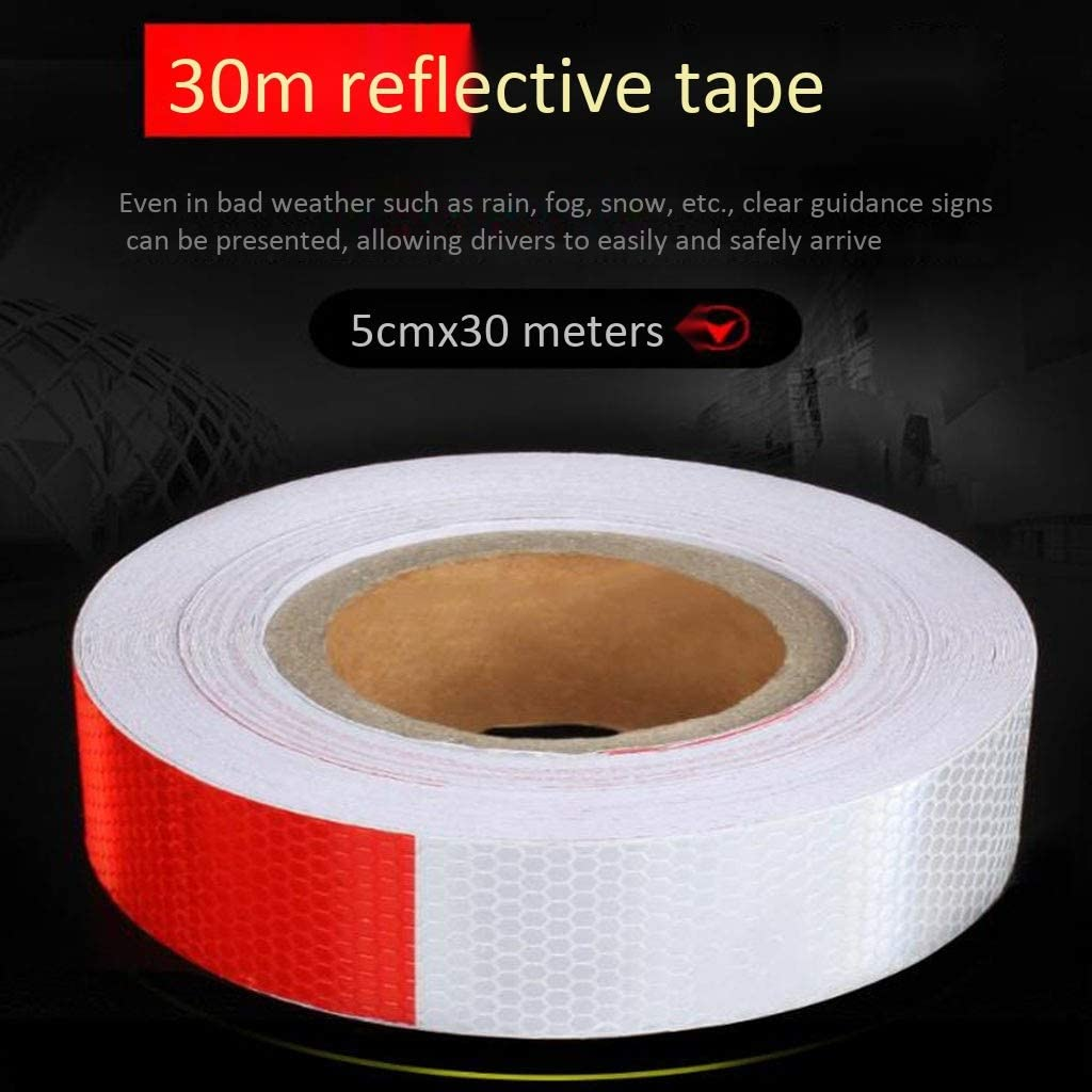 Used For Truck Motorcycle Bicycle Strong Reflective High Visibility Reflective Ta 5cmx 30cm Strong Adhesive And Waterproof Car Warning Safety Reflective Tape Red And White High-gloss Reflective Tape