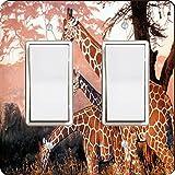 Rikki Knight Three Giraffes on Safari Design Double Rocker Light Switch Plate
