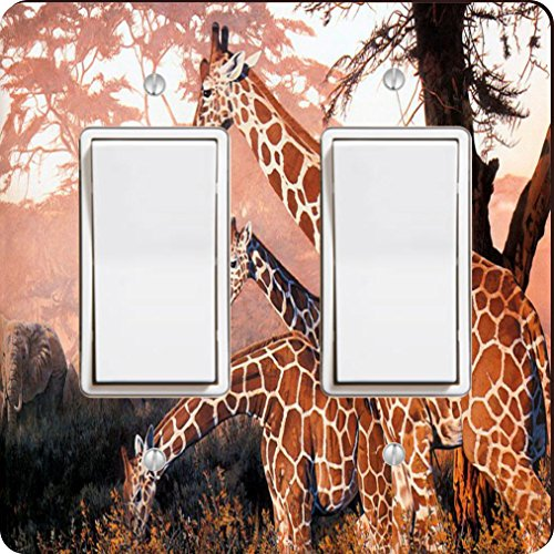 Rikki Knight Three Giraffes on Safari Design Double Rocker Light Switch Plate by Rikki Knight