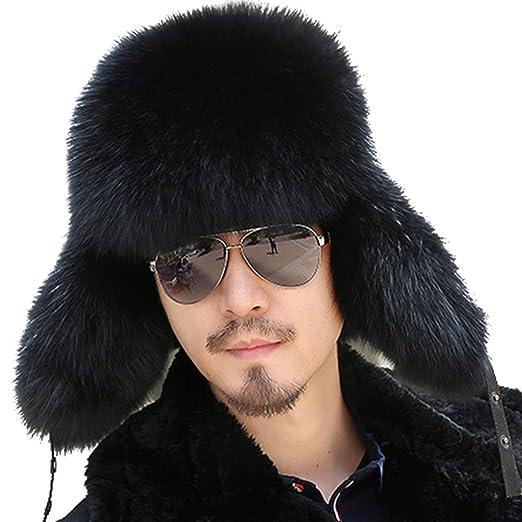 c1cd7780d93 Valpeak Mens Winter Hat Real Fox Fur Genuine Leather Russian Ushanka Hats  (Black)
