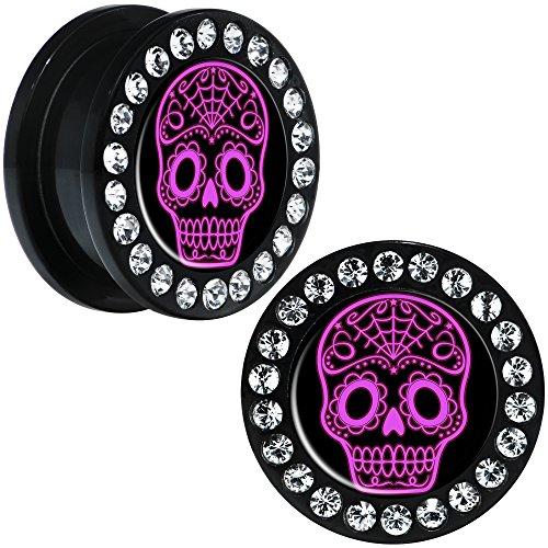 Body Candy Black Acrylic Pink Sugar Skull Art Screw Fit Ear Gauge Plug Pair 20mm
