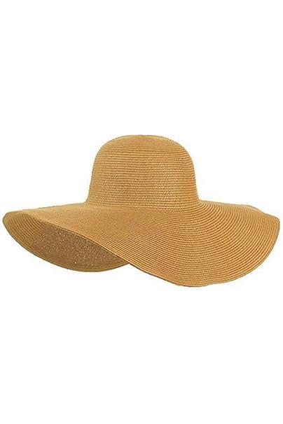 TOOGOO(R)Mujeres Lindas Verano Paja sombrero de la playa Borde Grande Ancho  Foldable Sombrero de sol Caqui  Amazon.es  Ropa y accesorios f08b93f46bb