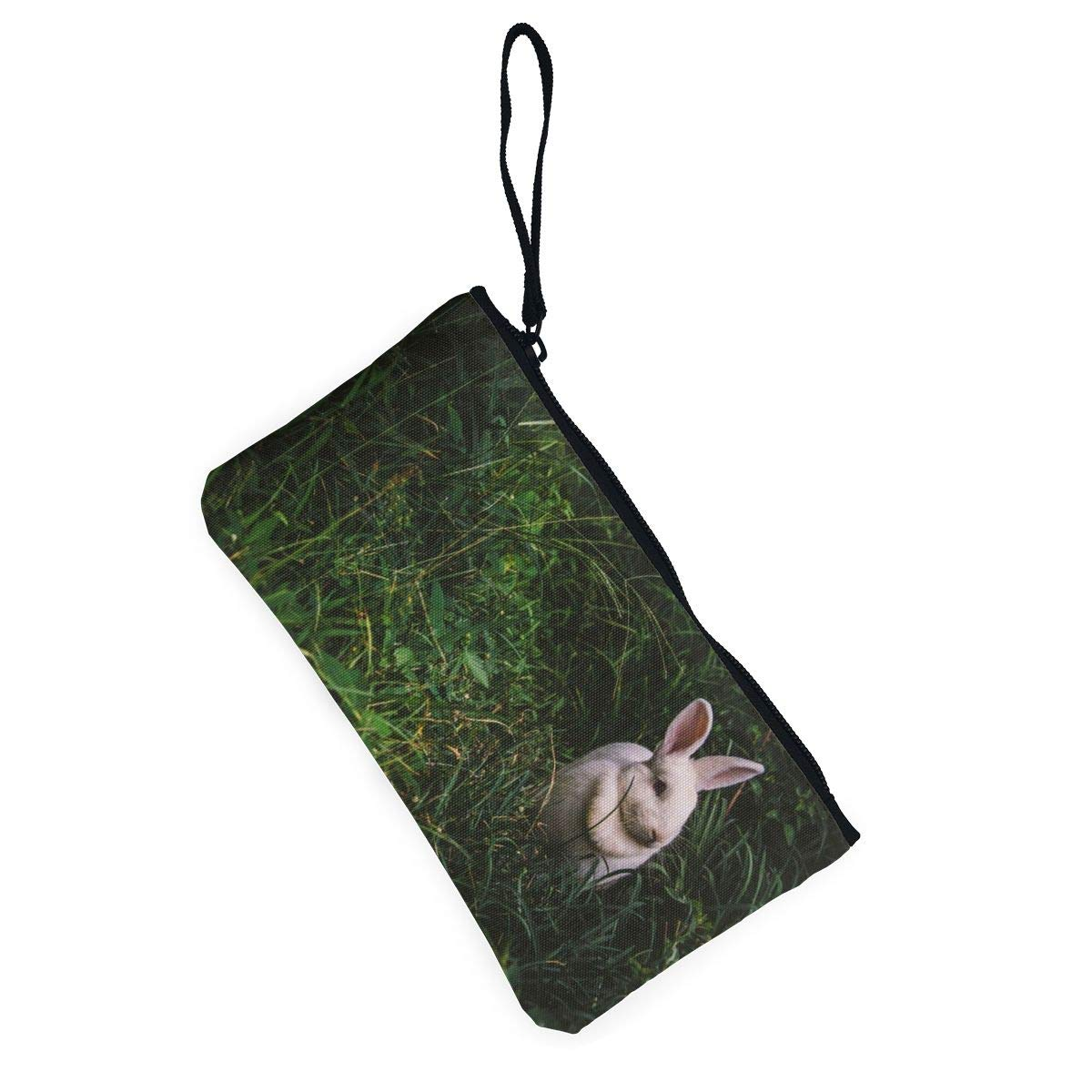 Canvas Cash Coin Purse,Cute Bunny Rabbit In Grass Print Make Up Bag Zipper Small Purse Wallets