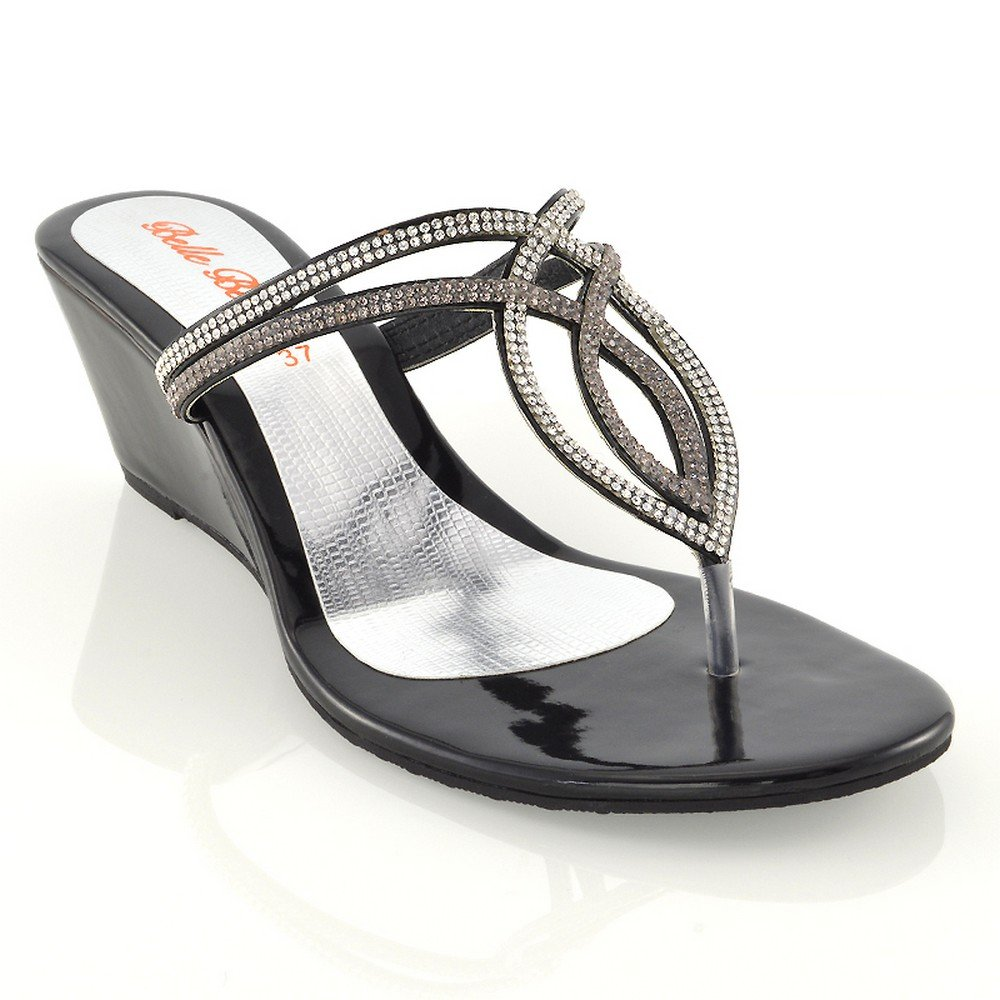 ESSEX GLAM Damen Niedriger Keilabsatz Zehentrenner Sandaletten Strass Sommer Schuhe (UK 7 / EU 40 / US 9, Silber)