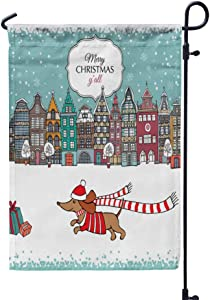 GROOTEY Welcome Garden Flag Home Yard Decorative 12X18 Inches Christmas Card European Color Houses Dog Double Sided Seasonal Garden Flags Kids Christmas Flag
