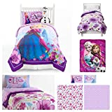 Disney Frozen Celebrate Love Complete 6 Piece Twin Bed in a Bag - Reversible Comforter, 3 Piece Sheet Set, Plush Anna Elsa with Olaf Throw & Olaf Cuddle Pillow