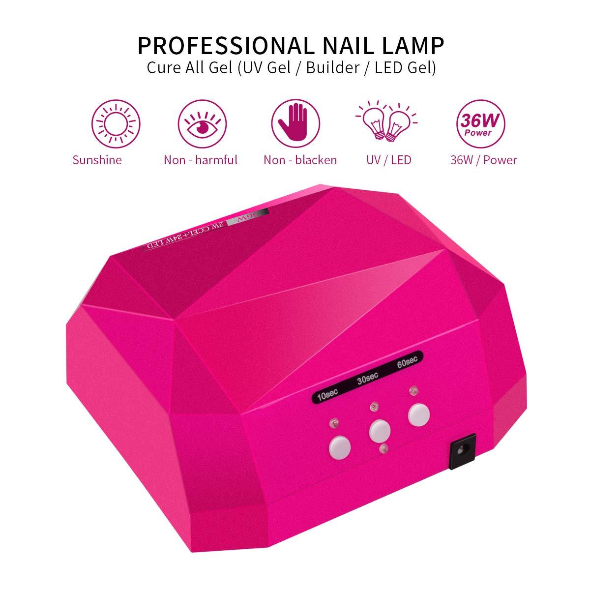 Lampe à ongles professionnel 36W, Lampe UV ongles gel CCFL LED avec détecteur et minuterie - Morpilot Sèche ongles en forme diamant, Kit de Manucure Pédicure +Trousse de manucure + Lime à ongles
