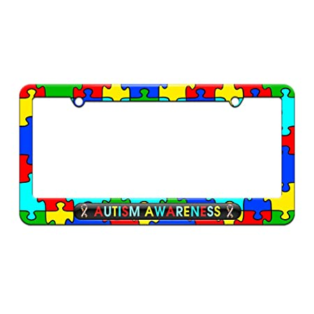 img buy Graphics and More Autism Awareness - Puzzle Ribbons - License Plate Tag Frame - Autism Awareness Puzzle Pieces Design