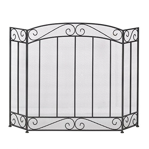 Antique Fireplace Screen, Rustic Three Panel Classic Fireplace Screens Black by Accent Plus