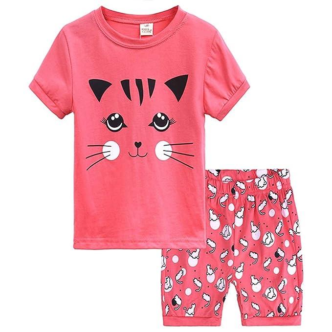 Amazon.com: Pijamas de sirena de manga corta para niñas ...