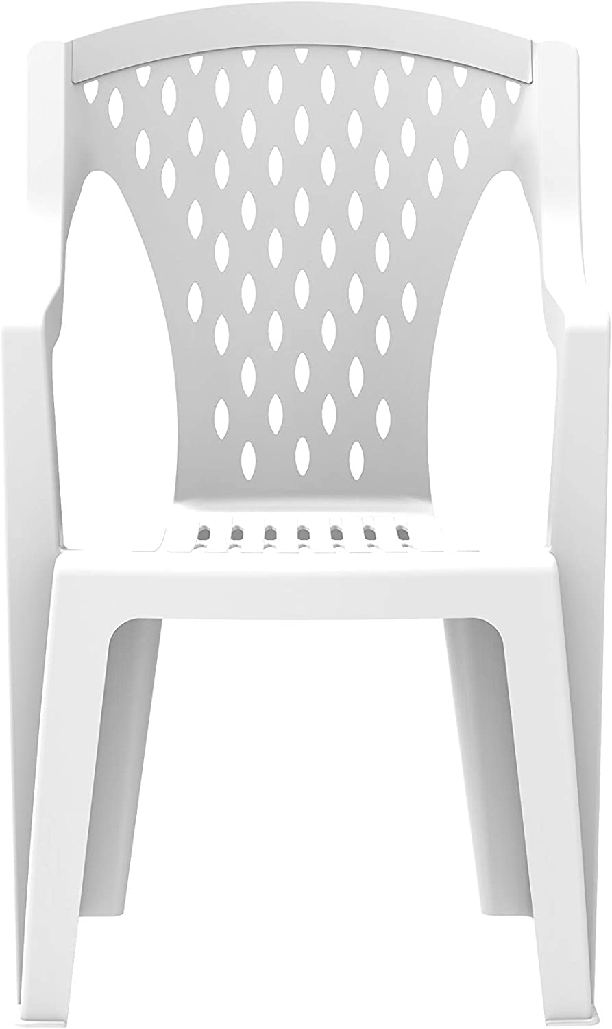 59 x 58 x 93 cm Duramax Queen High Back Plastic Armrest White Dining Patio Garden Indoor /& Outdoor Chairs Home /& Party Sturdy /& Durable Weatherproof /& Stackable