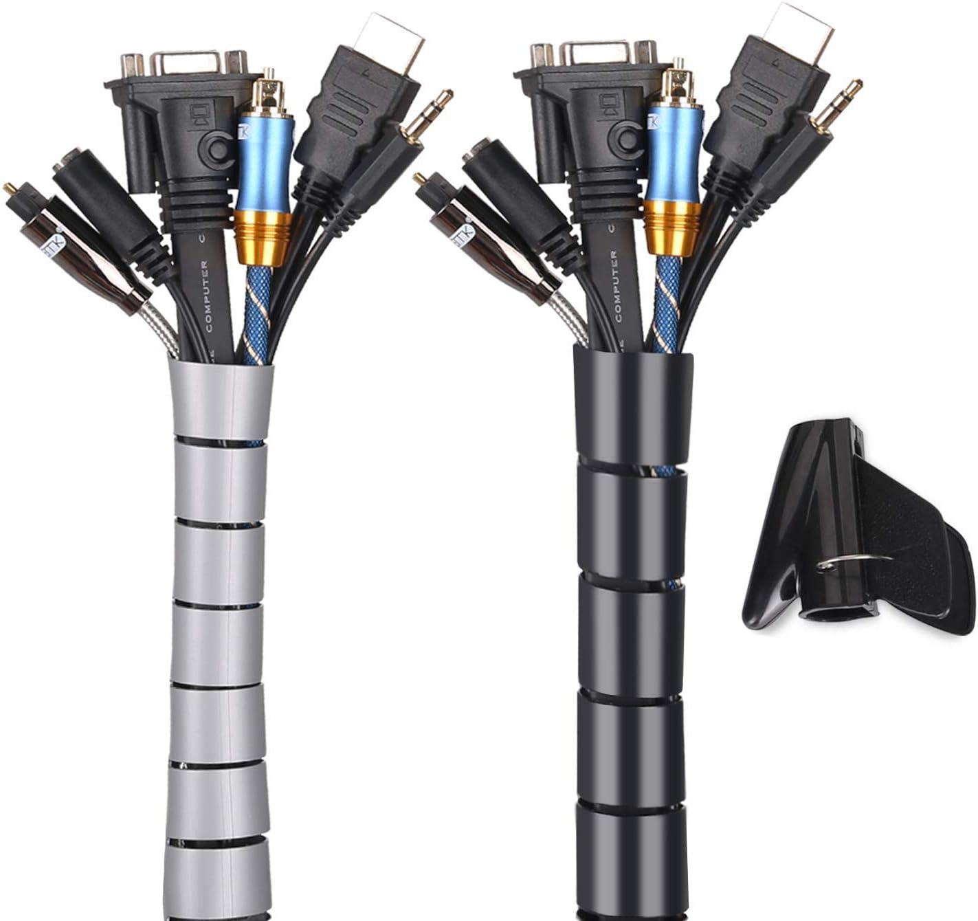 MOSOTECH Organizador Cables, Cubre Cables de 2 x 1.5m, Flexible Funda Organizador Cables, Organizador de Cables Mesa, Recoge Cables para Office y PC ...