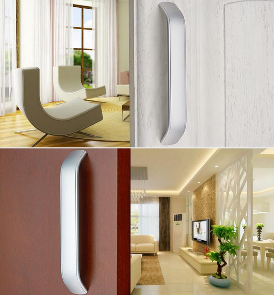 Daeou Space aluminum U-shaped drawer door handle wardrobe cabinets handle silver white furniture by Daeou (Image #3)