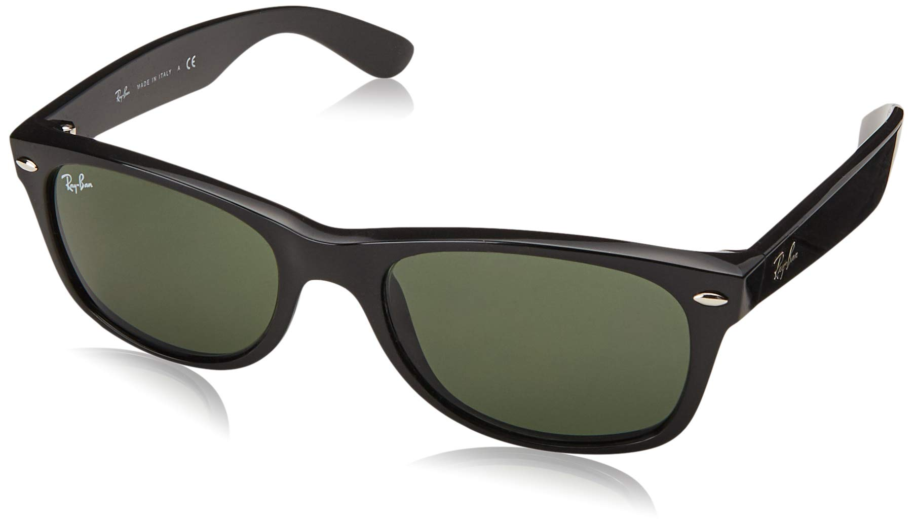 RAY-BAN RB2132 New Wayfarer Polarized Sunglasses, Black/Polarized Green, 55 mm by RAY-BAN