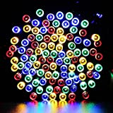 Solar Christmas Lights,40ft 100 LED Solar Powered Waterproof Starry Fairy Outdoor String Lights for Garden,Christmas Party, Xmas Tree - Multi Color