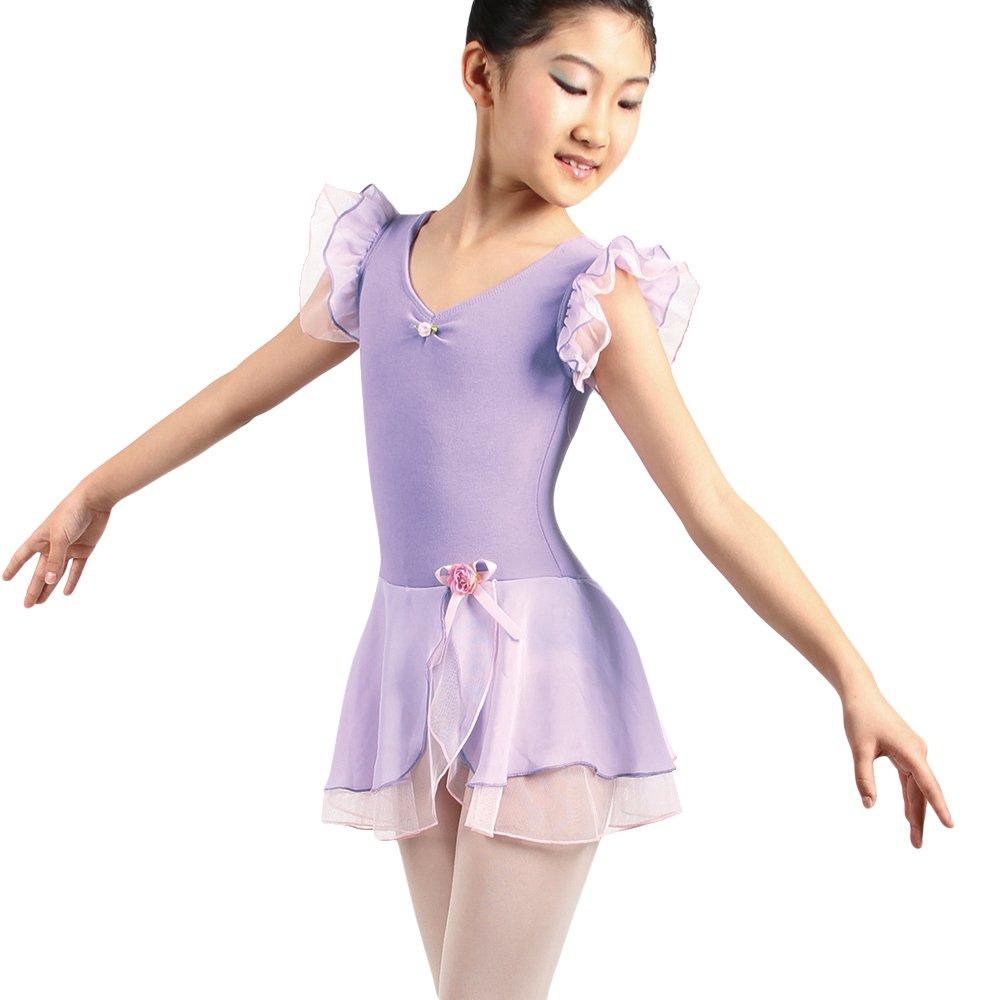 IWEMEK M/ädchen Ballettkleid Kurzarm Ballettanzug Kinder Ballett Trikot Leotards Tanzkleid R/öckchen Gymnastikanzug Ballet Tutu Tanzkleid mit Rose Rosa Lila Rose Schwarz Gr/ün 1-12 Jahre