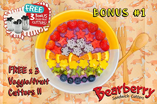 Bearberry Sandwich Cutters, Bread Crust & Cookie Stamp Set - Fun Heart, Dinosaur, Food Shapes for Kids Bento Lunch Box, Boys and Girls - GET FREE Mini Stainless Steel Vegetable & Fruit Press! by Bearberry (Image #2)