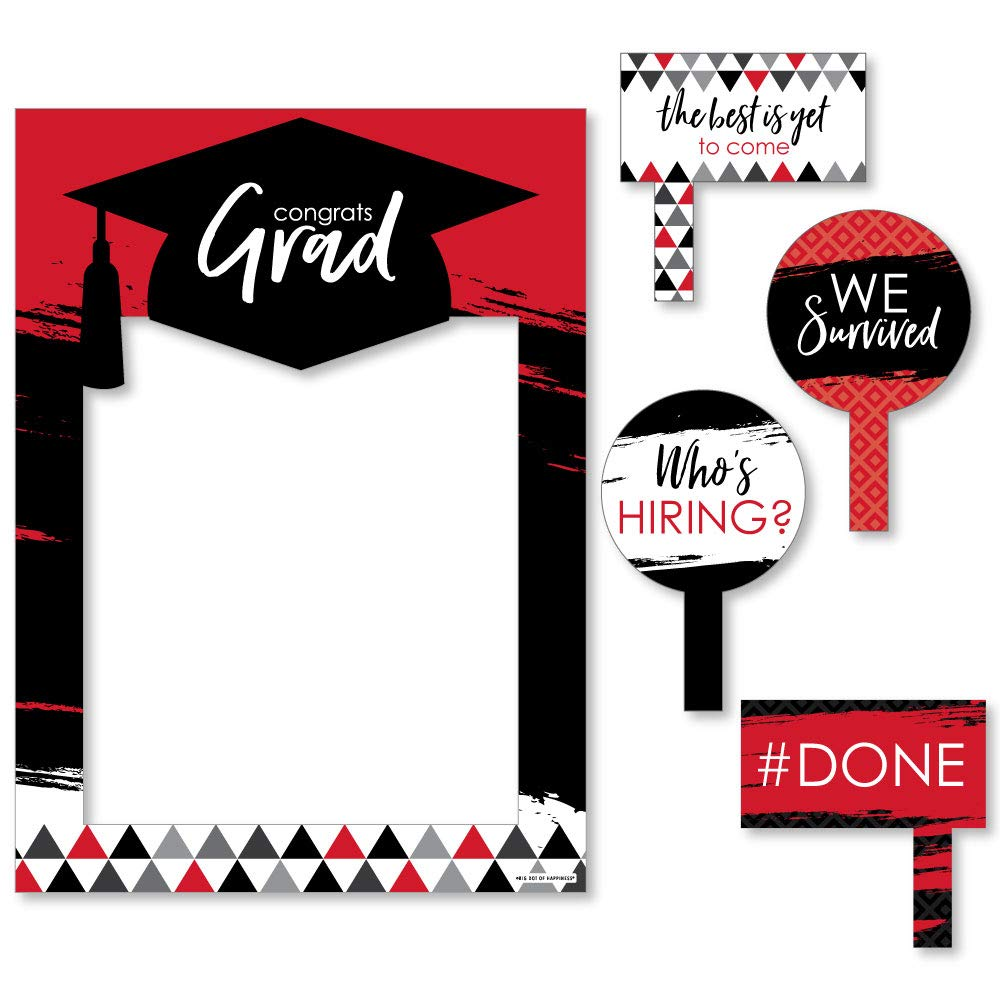 Red Grad - Best is Yet to Come - Red Graduation Party Selfie Photo Booth Picture Frame & Props - Printed on Sturdy Material