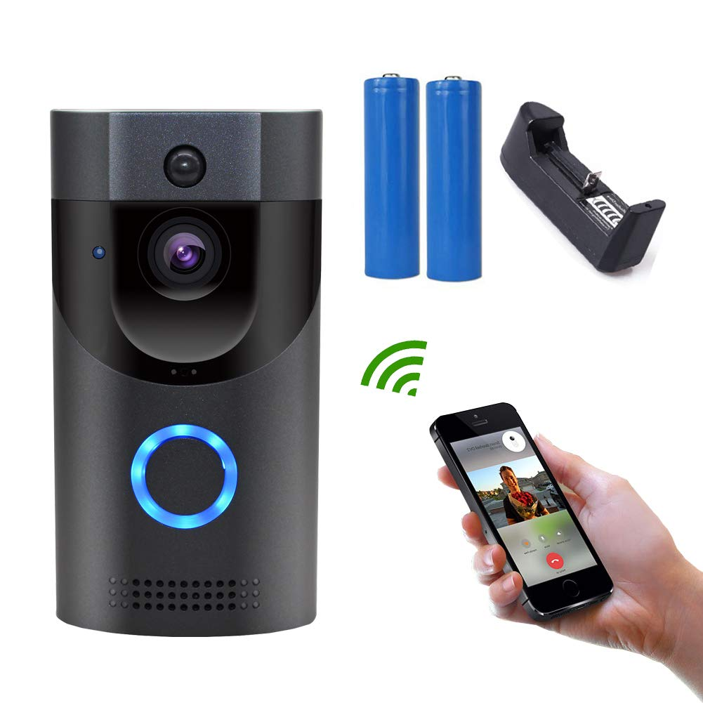 Video doorbell wireless with camera wi-fi with motion detector button automatic HD video can remotely watch video intercom, dogfish doorbell uses Lite OS system and supports mobile phone ANYHOME, ios1 by Dogfish
