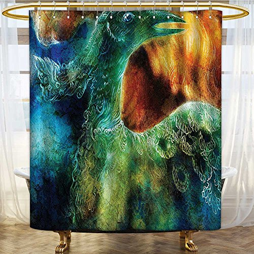 Mikihome Shower Curtains Waterproof Mythical Legendary Phoenix Rebirth New Life from The Ashes Sun Exceptional Fabric Bathroom Decor Set with Hooks W108 x H72 inch