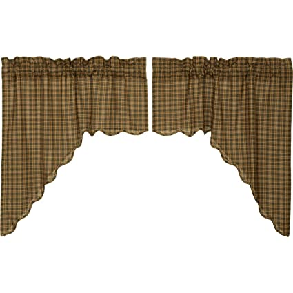 VHC Brands Barrington Swag Scalloped Lined Set of 2-36x36x16