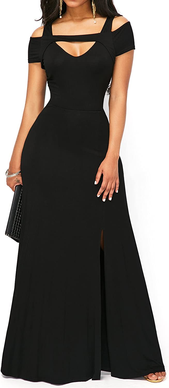 TALLA L. KISSMODA Vestido Sexy de Las Mujeres de con Cuello en V Falda Formal de Moda del Hombro frío de Maxi S-negro
