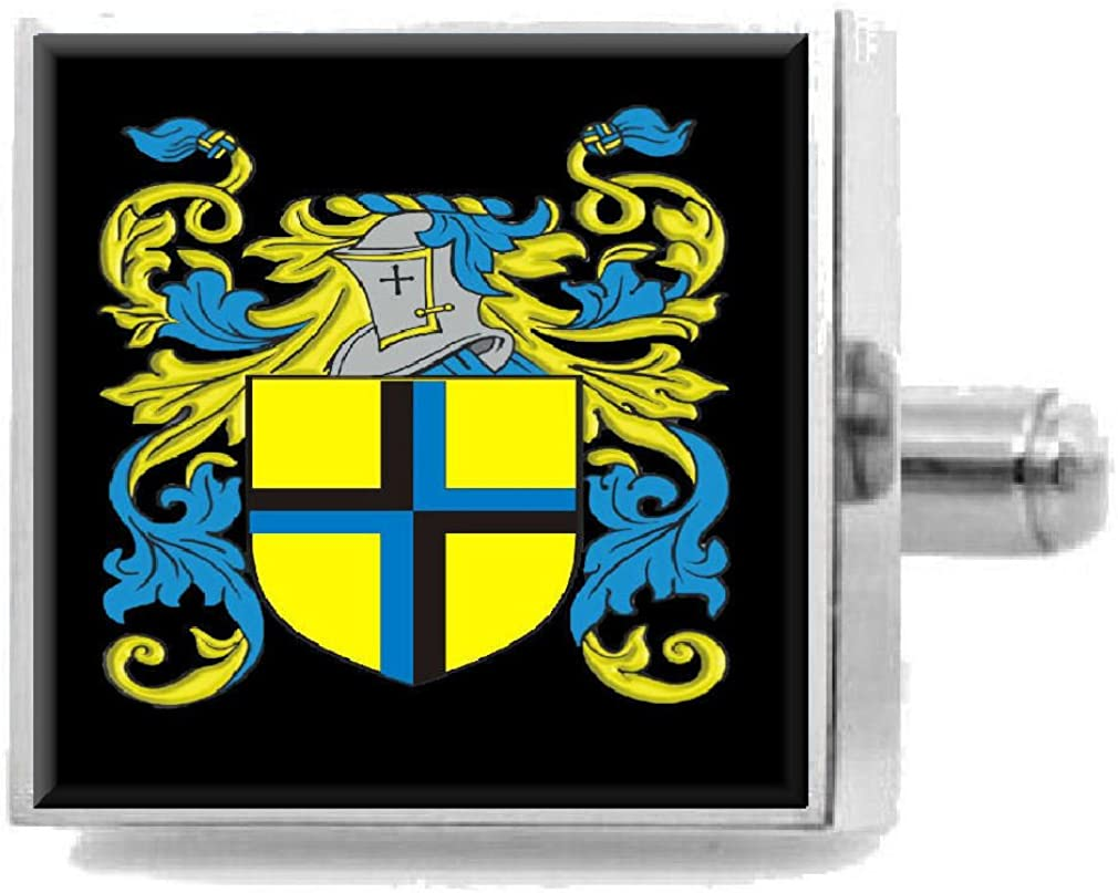 Select Gifts Wegg England Family Crest Surname Coat Of Arms Cufflinks Personalised Case