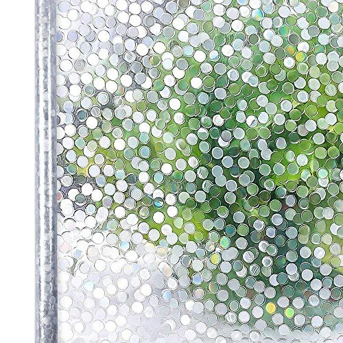 Homein Window Film Privacy, 3D Clear Circle Decorative Stained Glass Window Film Rainbow Effect Removable Self Adhesive Glass Sticker Static Cling Window Contact Paper for Kitchen Office 35.4