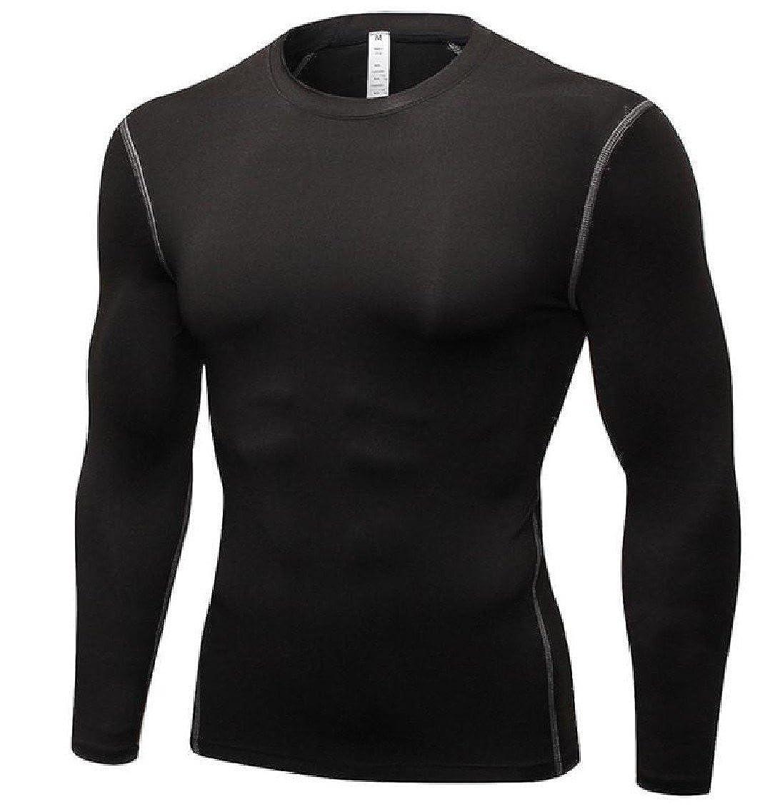 KaWaYiMen Kawayi Mens Fast Drying Brushed Novelty Tights/Pure Color Training Tunic Top Tees