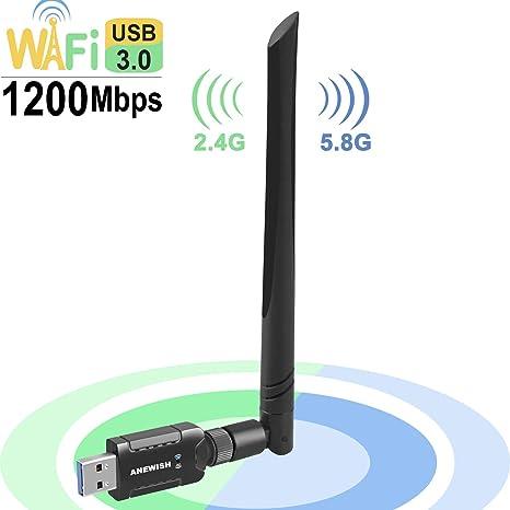 AneWish DongleANEWISH 11AC600M DualBand - Adaptador inalámbrico USB WiFi con Antena 2DBI para PC/PC