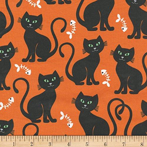 Michael Miller Bats & Black Cats Bone-Appetit Orange Fabric by The Yard]()